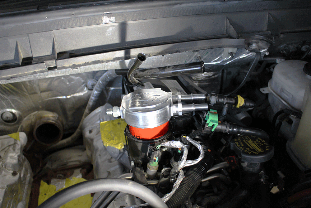 h&s includes a straightforward fuel filter conversion system with its dual  high pressure pump kit, which replaces the factory fuel filter housing  assembly