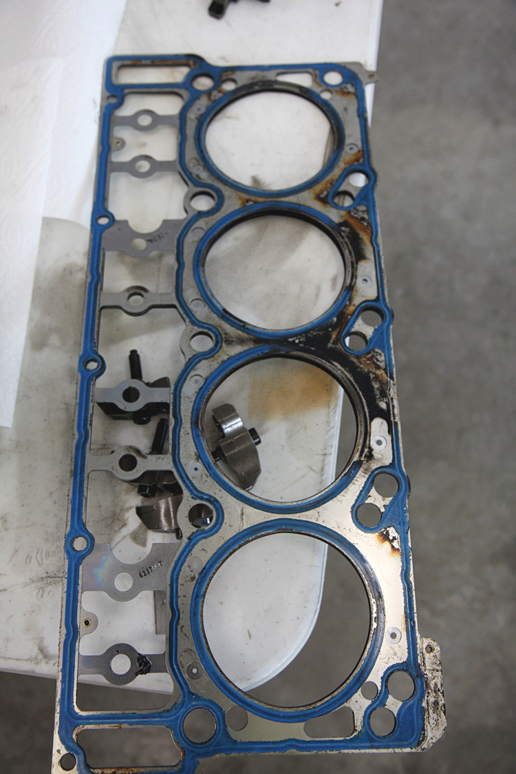 Power Stroke Problems 1997 Ford 7 3 Liter Powerstroke Diesel Glow Plug Engine Harness Connector Wiring Blown Head Gaskets Here You Can See What Happens When A Lifts And Compression Is Allowed To Slip Past The Gasket Once This Occurred Engines
