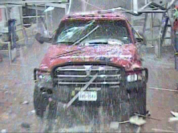 Battering Ram: The moment the suspect plows through the store after attempting to run over his girlfriend.